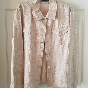 Stylish light cream fabric layering Jacket